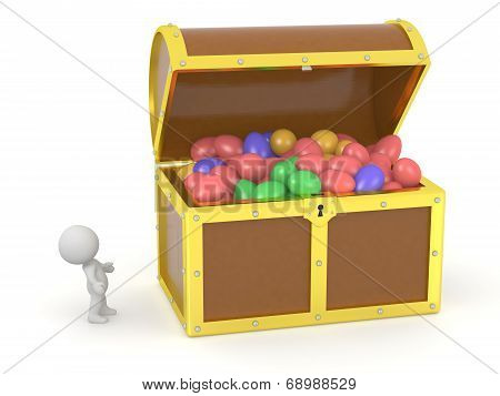 3D Treasure Chest with Easter Eggs and 3D Character