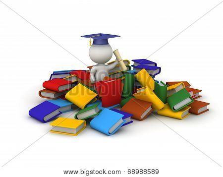 3D Character with Diploma and Many Books