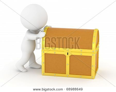 3D Character Pushing Treasure Chest