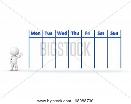3D Character Showing Calendar for Week