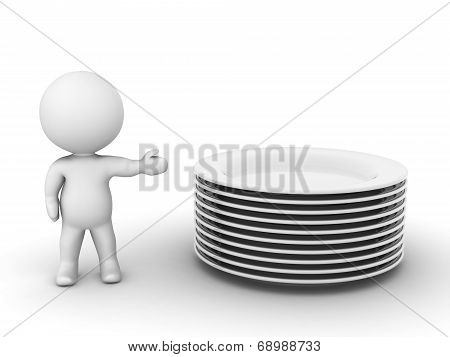 3D Character Showing stack of empty plates
