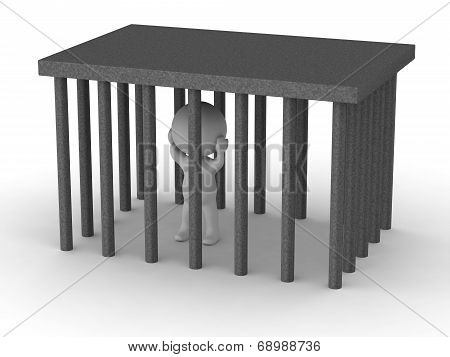 3D man trapped in cage