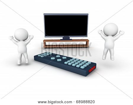 3D Characters cheering, HDTV and remote control