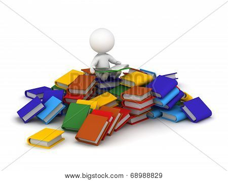 3D Character reading book sitting on pile of books