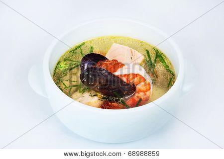 seafood chowder, shrimp, oysters, caviar