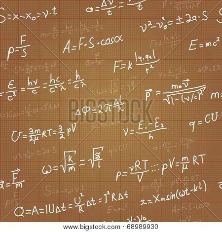 Physics formulas vector seamless pattern on brown blueprint. Vector