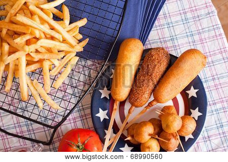 korndog with french fries