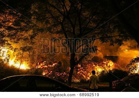 PUCHONG, MALAYSIA - JULY 26, 2014: An identified man watches the raging fire as it spreads during a forest fire at the foot hills of the Air Hitam Forest Reserve in Puchong, Malaysia.