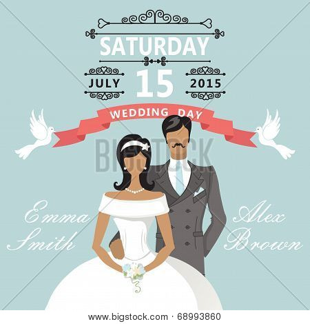 Cute flat bride and groom. Retro Wedding invitation