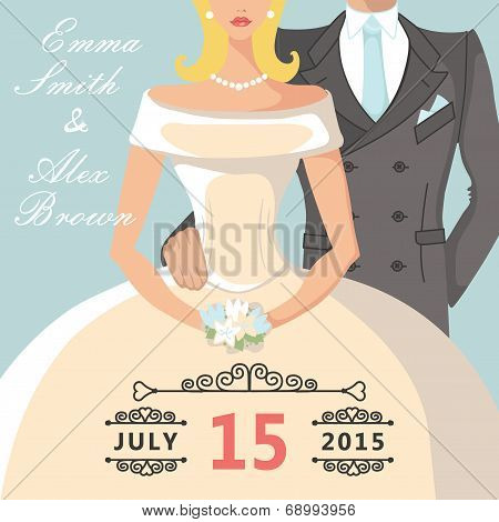 Cute cartoon bride and groom.Retro Wedding invitation