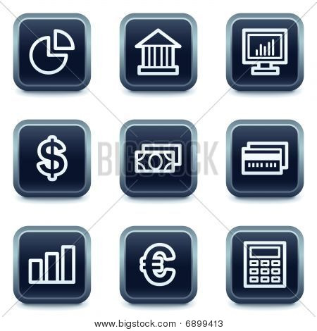 Finance Web Icons set 1, Mineral quadratischen buttons Serie