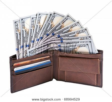 Fan of dollars in a wallet
