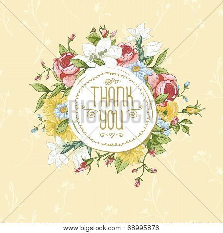 Vintage greeting card with blooming flowers