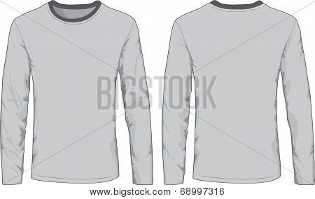 Men's shirts template. Front and back views.