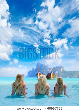 Three Women in beautiful lagoon at Phi Phi Ley island