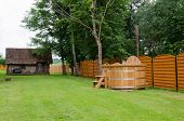 picture of hot-tub  - new modern wooden hot tub of water rural yard - JPG