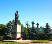 stock photo of lenin  - Monument to Vladimir Lenin in Tikhvin - JPG