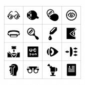 picture of ophthalmology  - Set icons of ophthalmology and optometry isolated on white - JPG