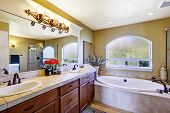 picture of bath tub  - Cozy bathroom interior with window - JPG