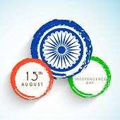 foto of ashoka  - Creative sticky in national tricolors with ashoka wheel for 15th of August - JPG