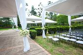 foto of canopy roof  - a wedding marquee with bouquets of roses - JPG