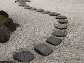 picture of stepping stones  -  stone way in japanese stone garden - JPG