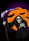 stock photo of grim-reaper  - Illustration of Halloween horrible Grim Reaper background - JPG