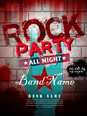 pic of rock star  - rock party all night poster template in red tone - JPG