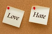 picture of hate  - Love versus Hate Two yellow sticky notes on a cork board with the words Love and Hate - JPG