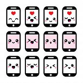 picture of kawaii  - Vector icons set of smartphone Kawaii isolated on white - JPG