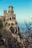 stock photo of apennines  - Observation deck on the tower in fortress Rocca della Guaita of San Marino on Mount Titano - JPG