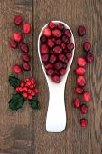 picture of holly  - Christmas cranberry fruit in a porcelain scoop with holly over oak background - JPG