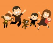 stock photo of baby face  - Illustration of a Hispanic family having fun - JPG