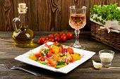 pic of gyro  - Chicken gyros salad and glass of wine - JPG