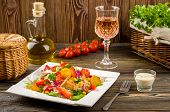 image of gyro  - Chicken gyros salad and glass of wine - JPG
