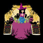pic of witch ball  - witch with crystal ball  - JPG