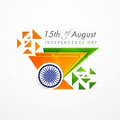 foto of asoka  - Creative concept for Indian Independence Day celebrations with triangles in national tricolors and Asoka Wheel on grey background - JPG