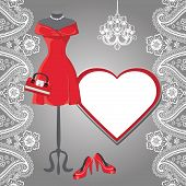 stock photo of short skirt  - Red dress on the mannequin with Paisley lace high heel shoes - JPG