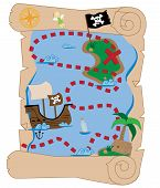 stock photo of treasure map  - Old scroll pirate ship buried treasure map - JPG