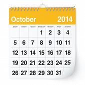 image of october  - 2014 year calendar - JPG