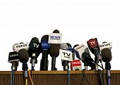 stock photo of debate  - Image of Press and Media Conference on White - JPG