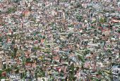 stock photo of overpopulation  - Aerial Abstract composition of Overpopulated poor town - JPG