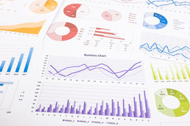 stock photo of analysis  - colorful graphs data analysis marketing research and annual report background concept for success business management project budget planning financial growth and education - JPG