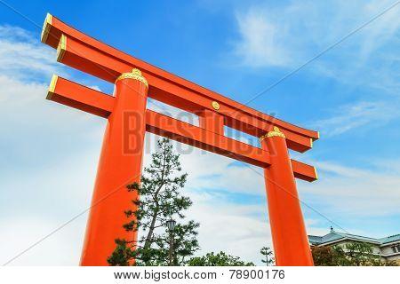 Giant Torii Gate at Heian-jingu Shrine in Kyoto