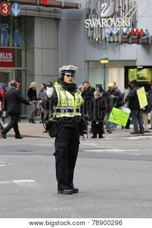 NYPD Traffic Control Police Officer in Midtown Manhattan