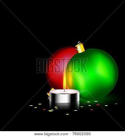 candle and two Christmas ball