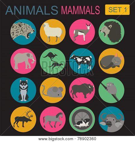 Animals Mammals Icon Set. Vector Flat Style