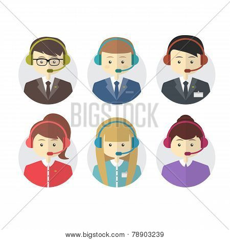 Call center operator icons with a smiling friendly man and woman, vector