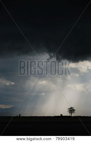 thunderstorm with dark clouds high