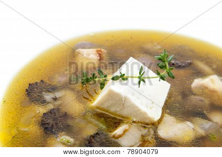 soup with mushrooms and beans